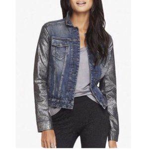 NWOT Express Denim Jacket Metallic Sparkly sleeves